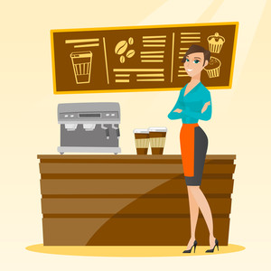 Caucasian friendly female barista sanding in front of coffee machine. Smiling barista sanding at coffee shop. Young barista making a cup of coffee. Vector flat design illustration. Square layout.
