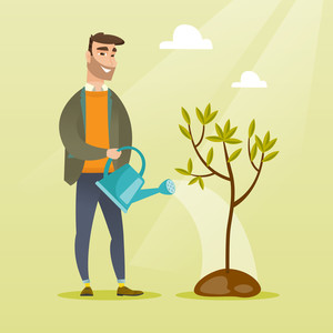 Caucasian friendly man watering tree. Gardener with watering can. Young hipster man with beard gardening. Concept of environmental protection. Vector flat design illustration. Square layout.