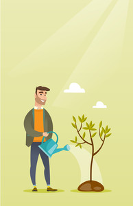 Caucasian friendly man watering tree. Gardener with watering can. Young hipster man with beard gardening. Concept of environmental protection. Vector flat design illustration. Vertical layout.
