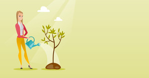 Caucasian friendly woman watering tree. Female gardener with watering can. Young woman gardening. Concept of environmental protection. Vector flat design illustration. Horizontal layout.