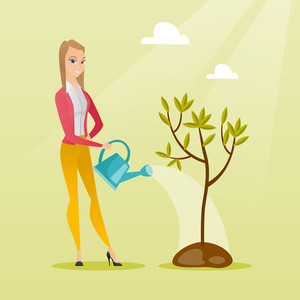 Caucasian friendly woman watering tree. Female gardener with watering can. Young woman gardening. Concept of environmental protection. Vector flat design illustration. Square layout.