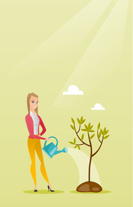 Caucasian friendly woman watering tree. Female gardener with watering can. Young woman gardening. Concept of environmental protection. Vector flat design illustration. Vertical layout.