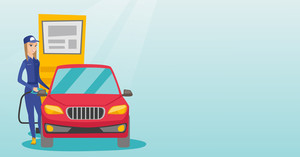 Caucasian friendly worker filling up fuel into the car. Female worker in workwear at the gas station. Young gas station worker refueling a car. Vector flat design illustration. Horizontal layout.