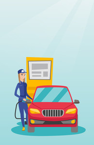 Caucasian friendly worker filling up fuel into the car. Smiling female worker in workwear at the gas station. Young gas station worker refueling a car. Vector flat design illustration. Vertical layout