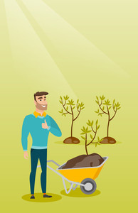 Caucasian gardener with wheelbarrow standing on the background of newly planted trees. Hipster gardener pushing wheelbarrow with tree and dirt in park. Vector flat design illustration. Vertical layout