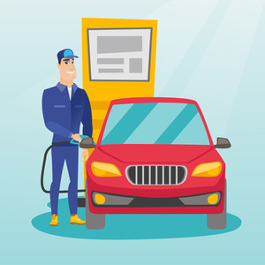Caucasian gas station worker filling up fuel into the car. Smiling worker in workwear at the gas station. Young gas station worker refueling a car. Vector flat design illustration. Square layout.