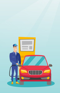 Caucasian gas station worker filling up fuel into the car. Smiling worker in workwear at the gas station. Young gas station worker refueling a car. Vector flat design illustration. Vertical layout.