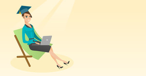 Caucasian graduate lying in chaise longue. Graduate in graduation cap working on a laptop. Graduate studying on a beach. Concept of online education. Vector flat design illustration. Horizontal layout