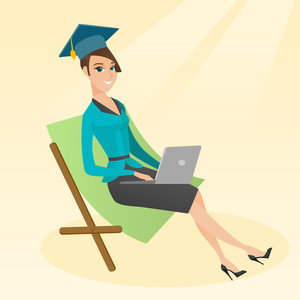 Caucasian graduate lying in chaise longue. Graduate in graduation cap working on a laptop. Graduate studying on a beach. Concept of online education. Vector flat design illustration. Square layout.