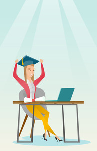 Caucasian graduate sitting at the table with laptop and diploma. Graduate in graduation cap using laptop for education. Online graduation concept. Vector flat design illustration. Vertical layout.