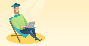 Caucasian graduate sitting in chaise longue. Graduate in graduation cap working on laptop. Graduate studying on a beach. Concept of online education. Vector flat design illustration. Horizontal layout