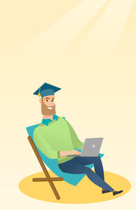 Caucasian graduate sitting in chaise longue. Graduate in graduation cap working on laptop. Graduate studying on a beach. Concept of online education. Vector flat design illustration. Vertical layout.