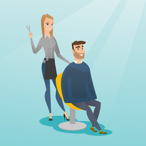 Caucasian hairdresser cutting hair of young hipster man with beard at barbershop. Hairdresser making haircut to a client with scissors in barbershop. Vector flat design illustration. Square layout.