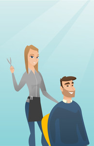 Caucasian hairdresser cutting hair of young hipster man with beard at barbershop. Hairdresser making haircut to a client with scissors in barbershop. Vector flat design illustration. Vertical layout.