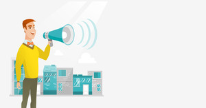 Caucasian happy businessman making an announcement on a city background. Businessman announcing through megaphone. Concept of business announcement. Vector flat design illustration. Horizontal layout.