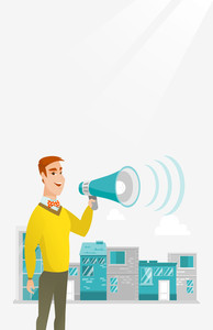 Caucasian happy businessman making an announcement on a city background. Businessman announcing through megaphone. Concept of business announcement. Vector flat design illustration. Vertical layout.