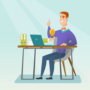 Caucasian happy businessman working on his laptop with business idea bulb. Cheerful businessman having business idea. Successful business idea concept. Vector flat design illustration. Square layout.