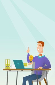 Caucasian happy businessman working on his laptop with business idea bulb. Cheerful businessman having business idea. Successful business idea concept. Vector flat design illustration. Vertical layout