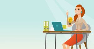 Caucasian happy businesswoman having a business idea. Young businesswoman working on laptop on a new business idea. Successful business idea concept. Vector flat design illustration. Horizontal layout