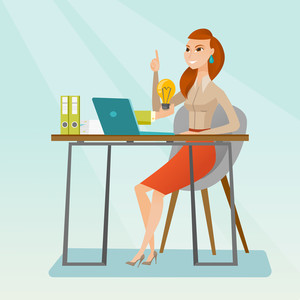 Caucasian happy businesswoman having a business idea. Young businesswoman working on laptop on a new business idea. Successful business idea concept. Vector flat design illustration. Square layout.