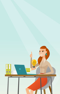 Caucasian happy businesswoman having a business idea. Young businesswoman working on laptop on a new business idea. Successful business idea concept. Vector flat design illustration. Vertical layout.