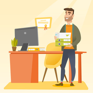 Caucasian happy hipster office worker holding pile of folders in office. Smiling office worker with documents. Joyful office worker standing in office. Vector flat design illustration. Square layout.
