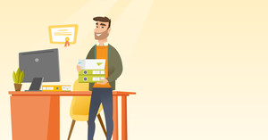 Caucasian happy hipster office worker holding pile of folders. Smiling office worker with documents. Joyful office worker standing in office. Vector flat design illustration. Horizontal layout.