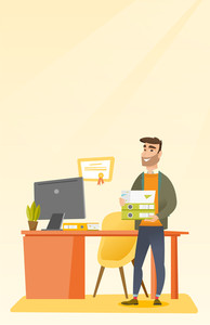 Caucasian happy hipster office worker holding pile of folders. Smiling office worker with documents. Young joyful office worker standing in office. Vector flat design illustration. Vertical layout.