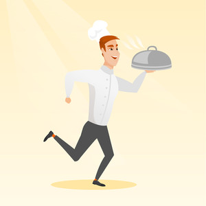 Caucasian happy male chef cook in the cap and white uniform running. Cheerful chef cook holding a cloche. Smiling chef cook fast running with a cloche. Vector flat design illustration. Square layout.