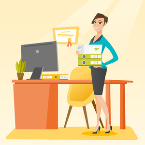 Caucasian happy office worker holding pile of folders in hands. Smiling office worker with documents. Full length of young joyful female office worker. Vector flat design illustration. Square layout.