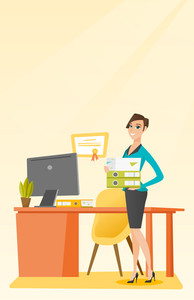 Caucasian happy office worker holding pile of folders in hands. Smiling office worker with documents. Full length of young joyful female office worker. Vector flat design illustration. Vertical layout