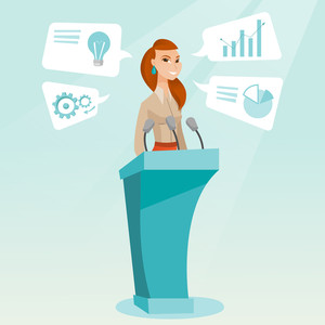 Caucasian happy speaker giving speech at podium with microphones at business conference. Smilig speaker giving a speech at podium at business seminar. Vector flat design illustration. Square layout.