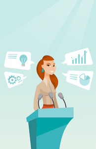 Caucasian happy speaker giving speech at podium with microphones at business conference. Smilig speaker giving a speech at podium at business seminar. Vector flat design illustration. Vertical layout.