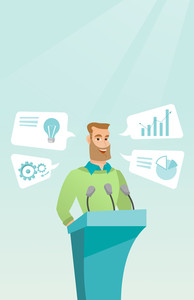 Caucasian happy speaker giving speech at podium with microphones at business conference. Smiling speaker giving a speech at podium at business seminar. Vector flat design illustration. Vertical layout