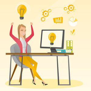 Caucasian happy woman having a business idea. Young cheerful businesswoman working on laptop on a new business idea. Successful business idea concept. Vector flat design illustration. Square layout.