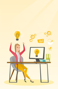 Caucasian happy woman having a business idea. Young cheerful businesswoman working on laptop on a new business idea. Successful business idea concept. Vector flat design illustration. Vertical layout.