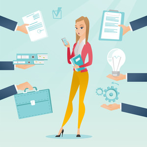 Caucasian hard working business woman. Young hard working business woman surrounded by many hands that give her a lot of work. Concept of hard working. Vector flat design illustration. Square layout.