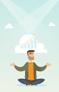 Caucasian hipster businessman doing yoga in lotus position and thinking about the growth graph. Peaceful businessman meditating in yoga lotus position. Vector flat design illustration. Vertical layout