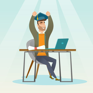 Caucasian hipster graduate sitting at the table with laptop and diploma. Graduate in graduation cap using laptop for education. Online graduation concept. Vector flat design illustration Square layout