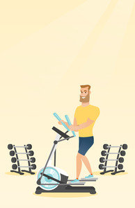 Caucasian hipster man exercising on elliptical trainer. Man working out using elliptical trainer in the gym. Man doing exercises on elliptical trainer. Vector flat design illustration. Vertical layout