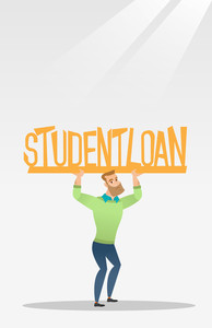 Caucasian hipster man holding heavy sign of student loan. Young tired man carrying heavy sign - student loan. Concept of the high cost of student loan. Vector flat design illustration. Vertical layout