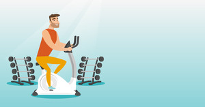 Caucasian hipster man riding stationary bicycle in the gym. Man exercising on stationary training bicycle. Young man training on exercise bicycle. Vector flat design illustration. Horizontal layout.