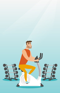 Caucasian hipster man riding stationary bicycle in the gym. Man exercising on stationary training bicycle. Young man training on exercise bicycle. Vector flat design illustration. Vertical layout.