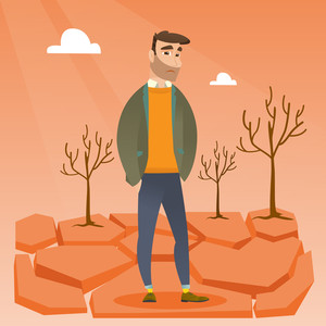 Caucasian hipster man standing in the desert. Frustrated young man standing on cracked earth in the desert. Concept of climate change and global warming. Vector flat design illustration. Square layout