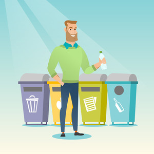 Caucasian hipster man throwing away garbage. Man standing near four bins and throwing away garbage in an appropriate bin. Concept of garbage separation. Vector flat design illustration. Square layout.