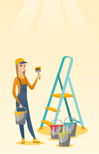 Caucasian house painter holding paintbrush. House painter with paintbrush in hand standing near step-ladder and paint cans. House renovation concept. Vector flat design illustration. Vertical layout.