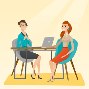 Caucasian human resource manager talking with job applicant. Young female job applicant during job interview for the position. Job interview concept. Vector flat design illustration. Square layout.