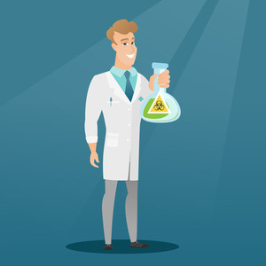 Caucasian laboratory assistant in medical gown showing a flask with biohazard sign. Young laboratory assistant holding a flask with biohazard sign. Vector flat design illustration. Square layout.