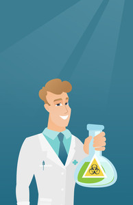 Caucasian laboratory assistant in medical gown showing a flask with biohazard sign. Young laboratory assistant holding a flask with biohazard sign. Vector flat design illustration. Vertical layout.