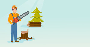 Caucasian lumberjack holding chainsaw. Lumberjack in workwear, hard hat and headphones in forest near stump. Lumberjack chopping wood in forest. Vector flat design illustration. Horizontal layout.